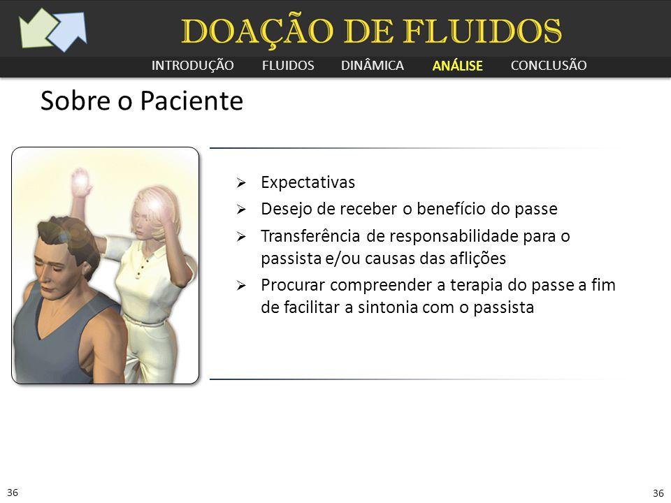 INTRODUÇÃO FLUIDOS DINÂMICA ANÁLISE CONCLUSÃO 36 Sobre o Paciente  Expectativas  Desejo de receber o benefício do passe  Transferência de responsab