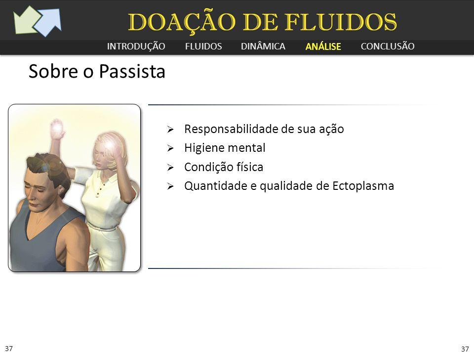 INTRODUÇÃO FLUIDOS DINÂMICA ANÁLISE CONCLUSÃO 37 Sobre o Passista  Responsabilidade de sua ação  Higiene mental  Condição física  Quantidade e qua