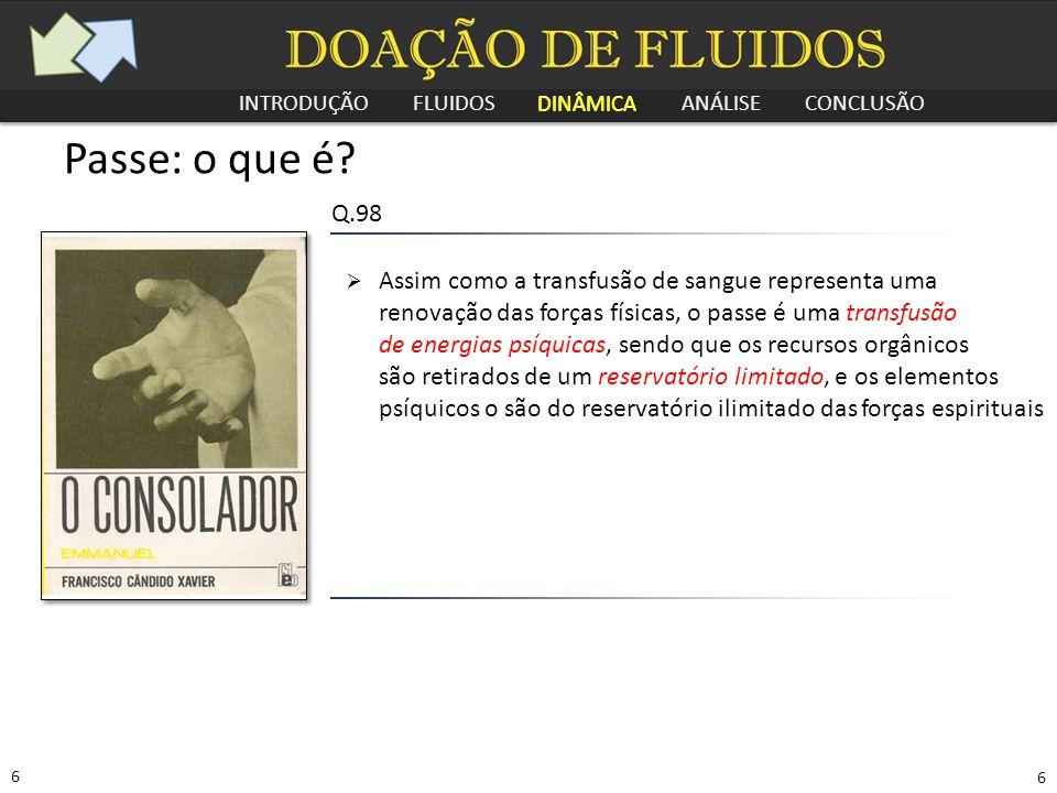 INTRODUÇÃO FLUIDOS DINÂMICA ANÁLISE CONCLUSÃO 7 7 Passe: o que é.