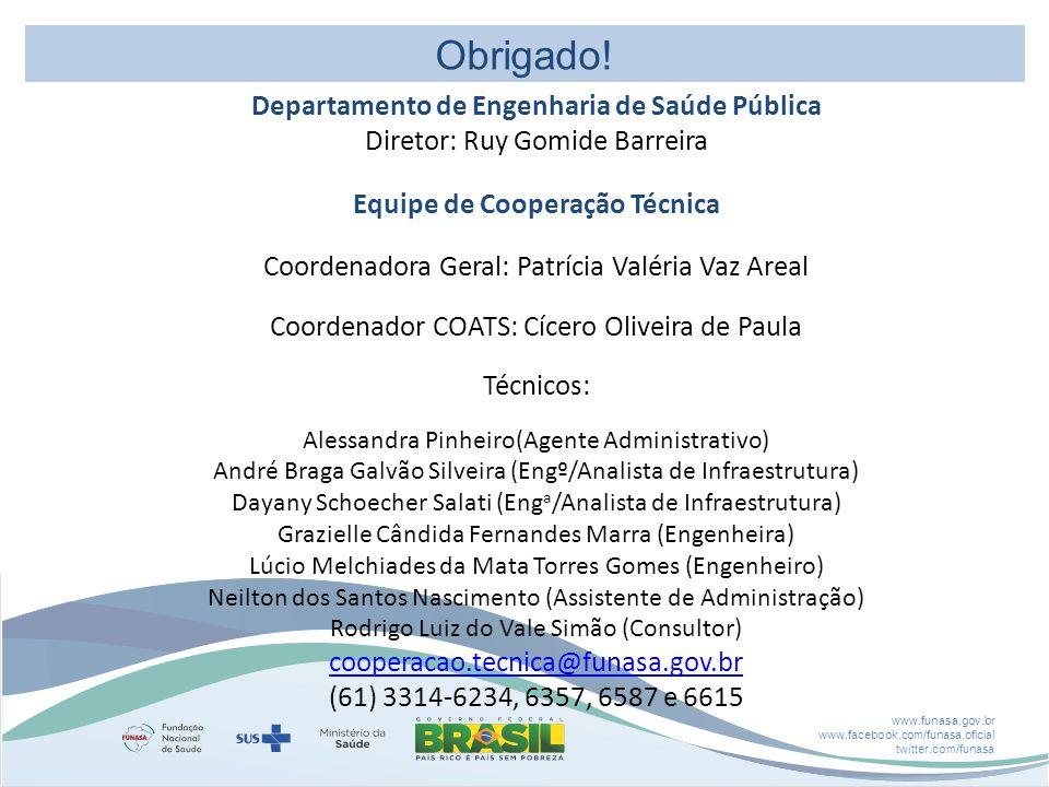 www.funasa.gov.br www.facebook.com/funasa.oficial twitter.com/funasa Obrigado.