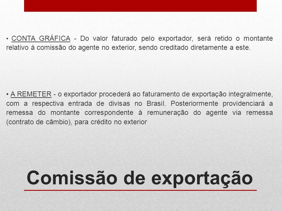 Comissão de exportação CONTA GRÁFICA - Do valor faturado pelo exportador, será retido o montante relativo à comissão do agente no exterior, sendo cred