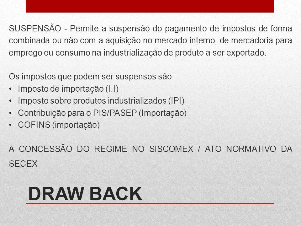 DRAW BACK SUSPENSÃO - Permite a suspensão do pagamento de impostos de forma combinada ou não com a aquisição no mercado interno, de mercadoria para em