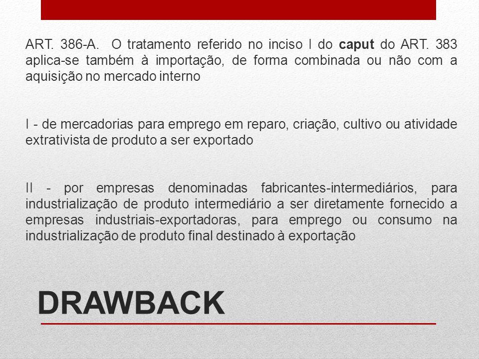 DRAWBACK ART. 386-A. O tratamento referido no inciso I do caput do ART. 383 aplica-se também à importação, de forma combinada ou não com a aquisição n