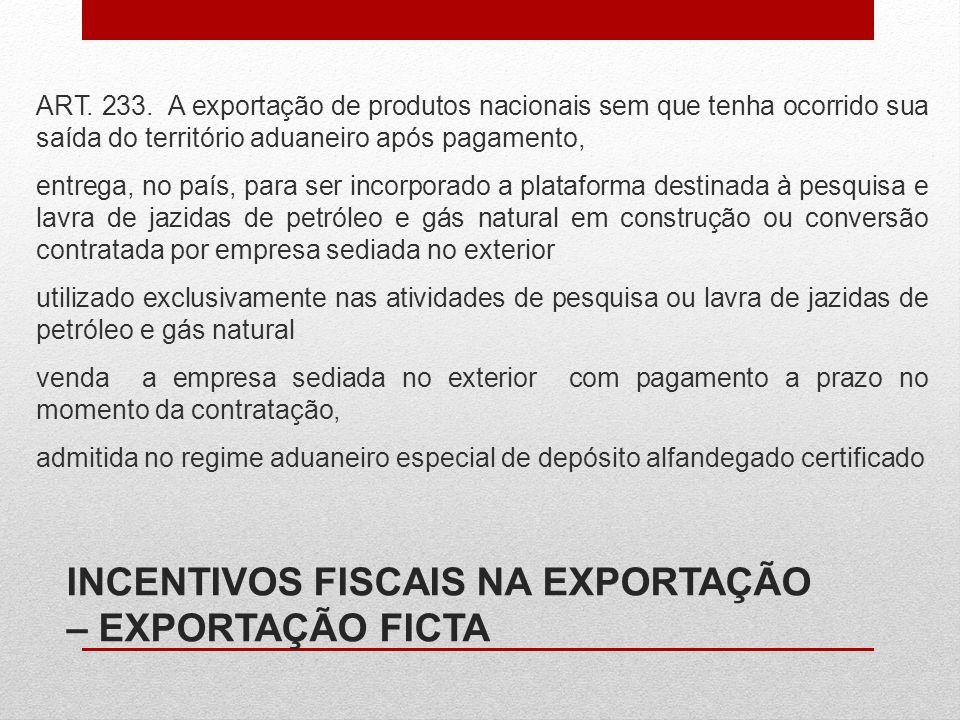 ART. 233. A exportação de produtos nacionais sem que tenha ocorrido sua saída do território aduaneiro após pagamento, entrega, no país, para ser incor