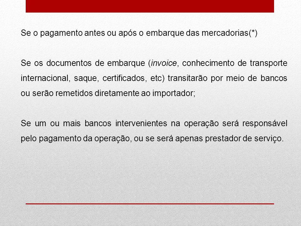 Se o pagamento antes ou após o embarque das mercadorias(*) Se os documentos de embarque (invoice, conhecimento de transporte internacional, saque, cer
