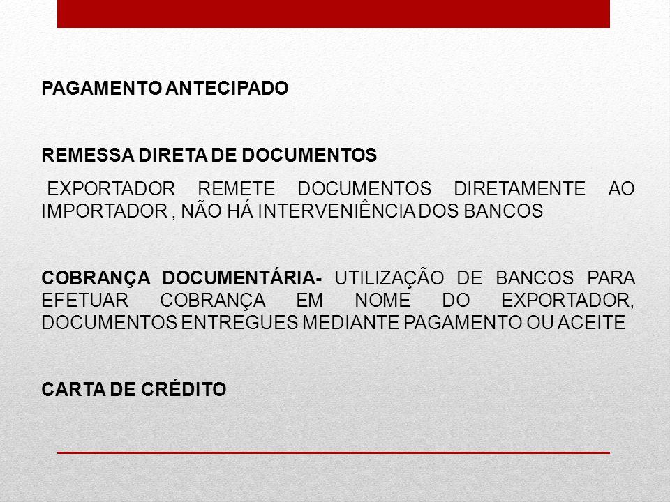 PAGAMENTO ANTECIPADO REMESSA DIRETA DE DOCUMENTOS EXPORTADOR REMETE DOCUMENTOS DIRETAMENTE AO IMPORTADOR, NÃO HÁ INTERVENIÊNCIA DOS BANCOS COBRANÇA DO
