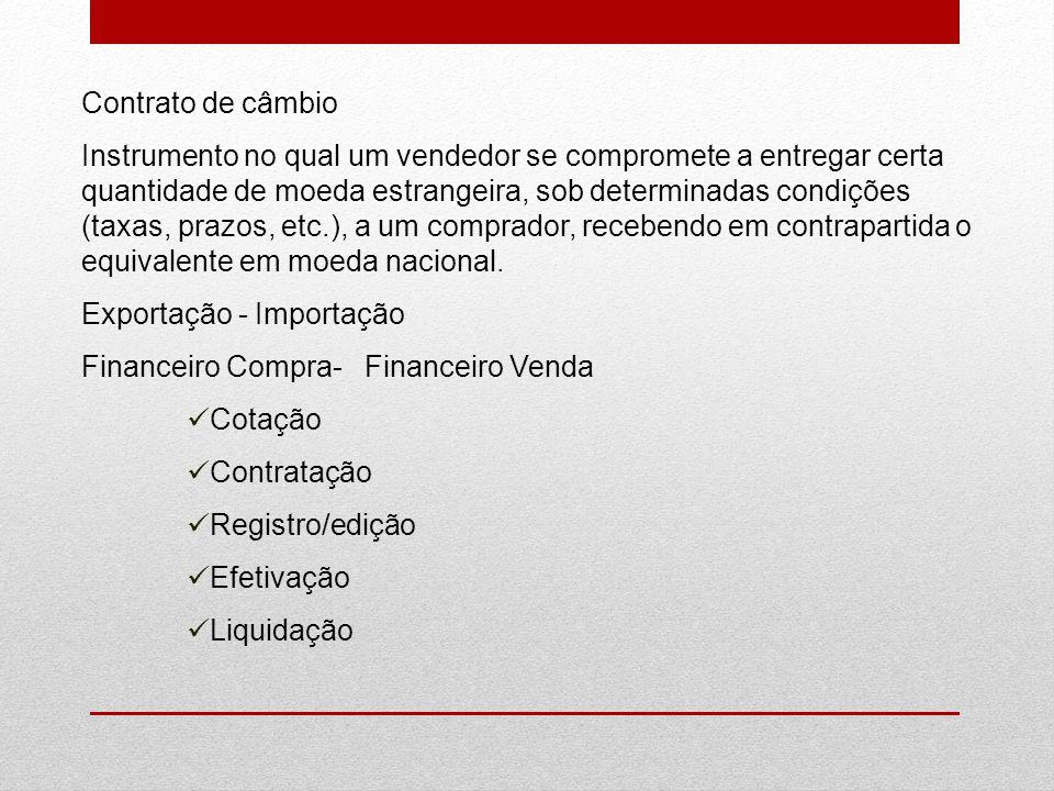 Contrato de câmbio Instrumento no qual um vendedor se compromete a entregar certa quantidade de moeda estrangeira, sob determinadas condições (taxas,