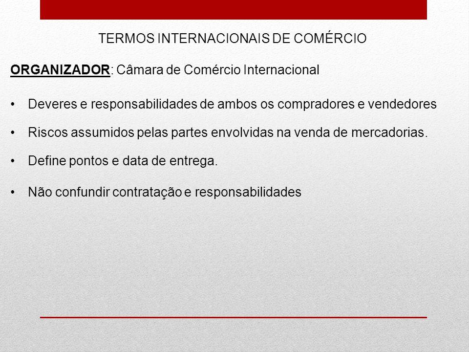 TERMOS INTERNACIONAIS DE COMÉRCIO ORGANIZADOR: Câmara de Comércio Internacional Deveres e responsabilidades de ambos os compradores e vendedores Risco