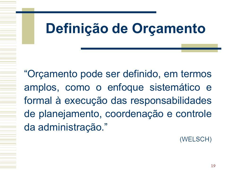 """19 Definição de Orçamento """"Orçamento pode ser definido, em termos amplos, como o enfoque sistemático e formal à execução das responsabilidades de plan"""