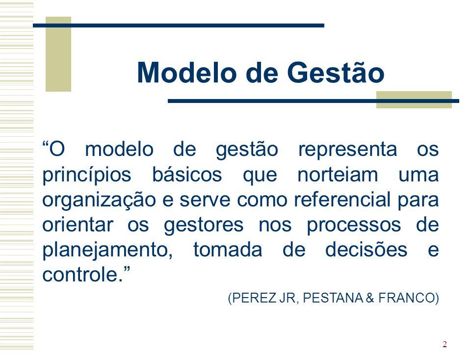 """2 Modelo de Gestão """"O modelo de gestão representa os princípios básicos que norteiam uma organização e serve como referencial para orientar os gestore"""