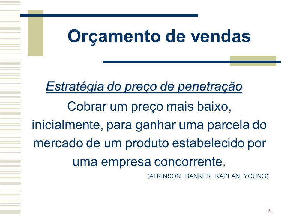 21 Orçamento de vendas Estratégia do preço de penetração Cobrar um preço mais baixo, inicialmente, para ganhar uma parcela do mercado de um produto es