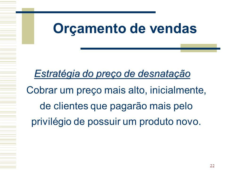 22 Orçamento de vendas Estratégia do preço de desnatação Cobrar um preço mais alto, inicialmente, de clientes que pagarão mais pelo privilégio de poss
