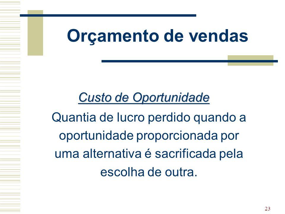 23 Orçamento de vendas Custo de Oportunidade Quantia de lucro perdido quando a oportunidade proporcionada por uma alternativa é sacrificada pela escol