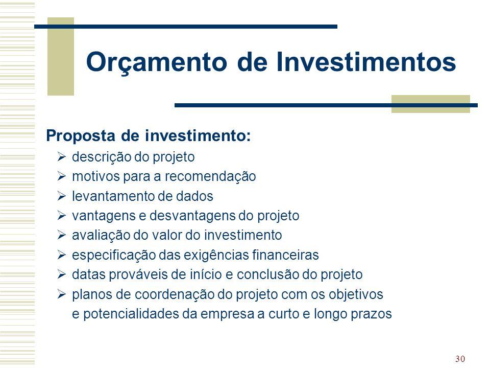 30 Orçamento de Investimentos Proposta de investimento:  descrição do projeto  motivos para a recomendação  levantamento de dados  vantagens e des