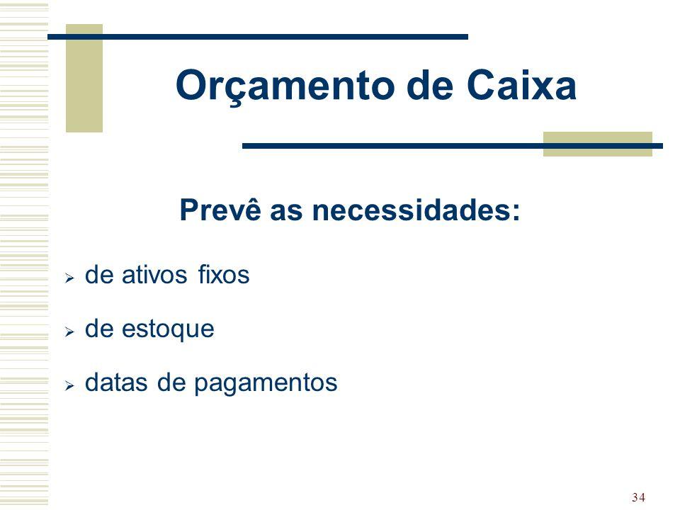 34 Orçamento de Caixa Prevê as necessidades:  de ativos fixos  de estoque  datas de pagamentos