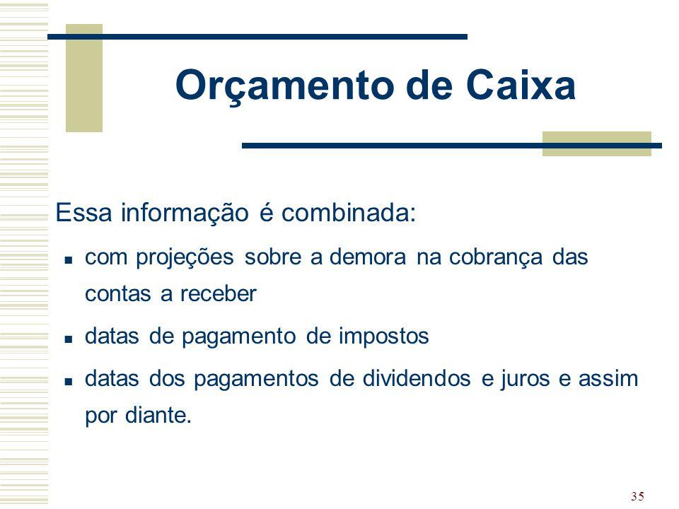 35 Orçamento de Caixa Essa informação é combinada: com projeções sobre a demora na cobrança das contas a receber datas de pagamento de impostos datas