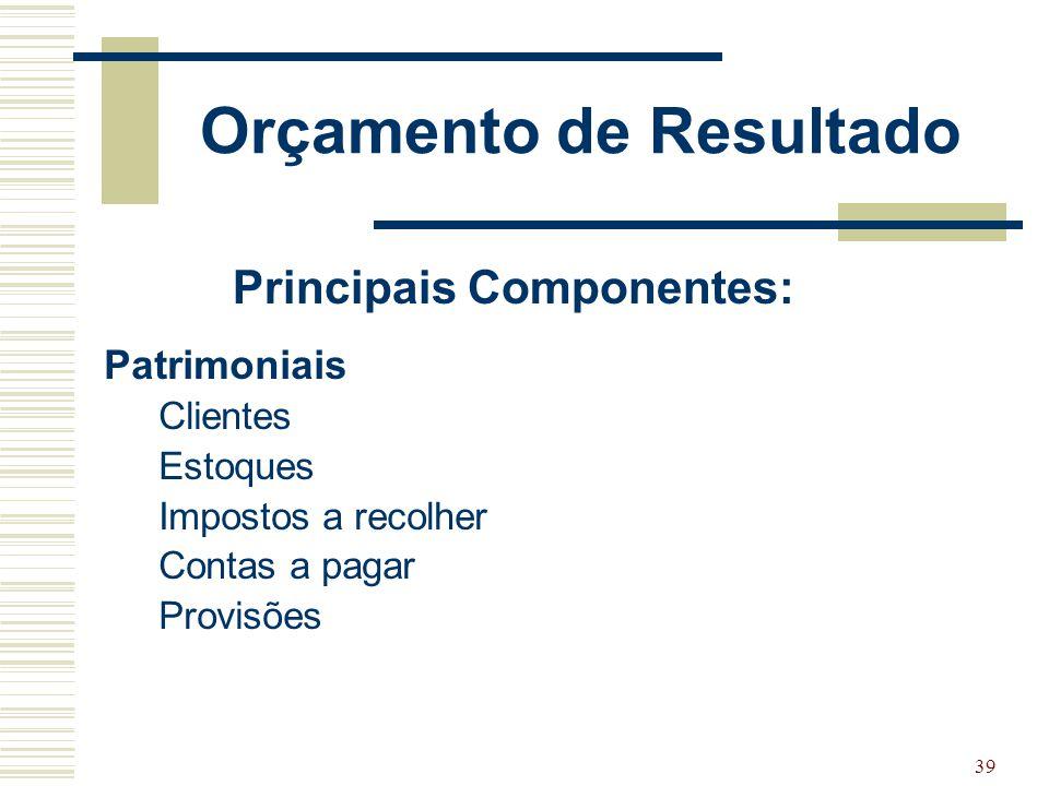 39 Patrimoniais Clientes Estoques Impostos a recolher Contas a pagar Provisões Principais Componentes: Orçamento de Resultado