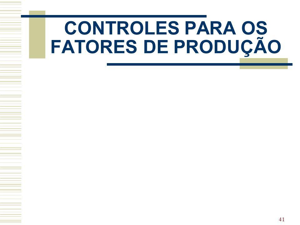 41 CONTROLES PARA OS FATORES DE PRODUÇÃO