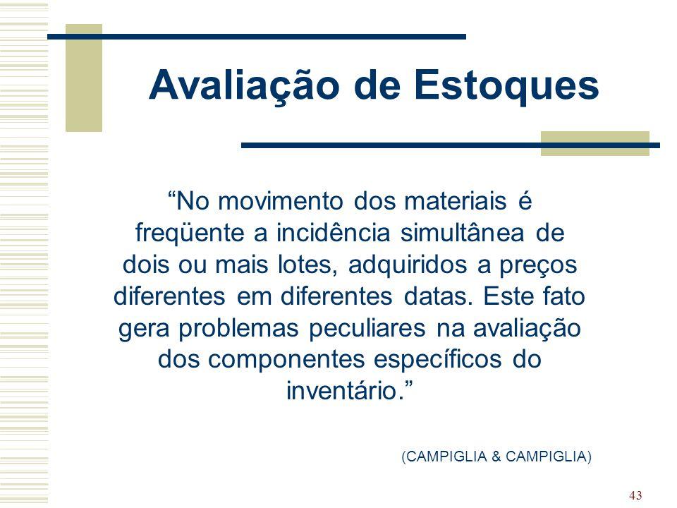"""43 Avaliação de Estoques """"No movimento dos materiais é freqüente a incidência simultânea de dois ou mais lotes, adquiridos a preços diferentes em dife"""