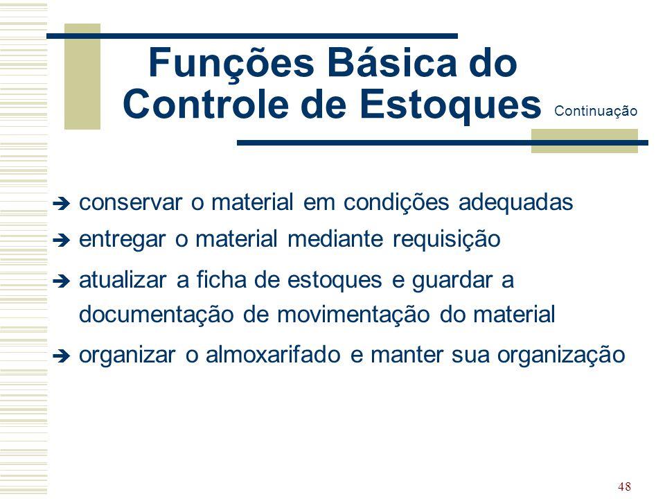 48 Funções Básica do Controle de Estoques  conservar o material em condições adequadas  entregar o material mediante requisição  atualizar a ficha