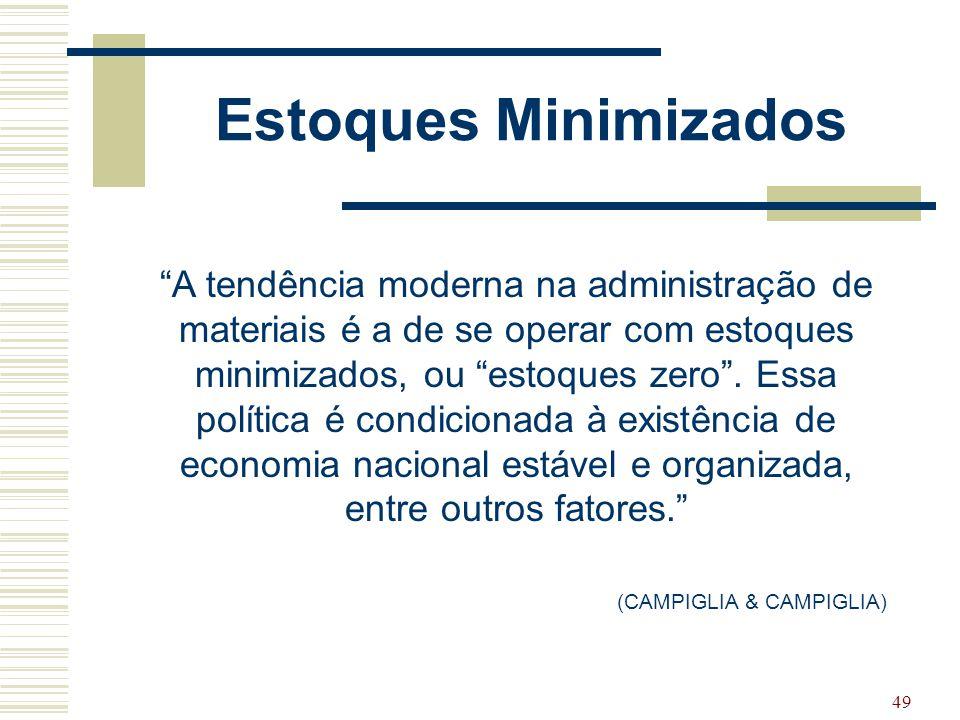 """49 Estoques Minimizados """"A tendência moderna na administração de materiais é a de se operar com estoques minimizados, ou """"estoques zero"""". Essa polític"""