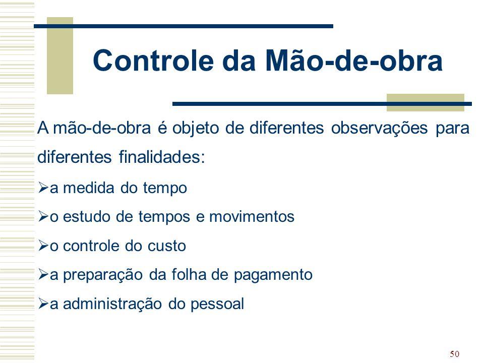 50 Controle da Mão-de-obra A mão-de-obra é objeto de diferentes observações para diferentes finalidades:  a medida do tempo  o estudo de tempos e mo