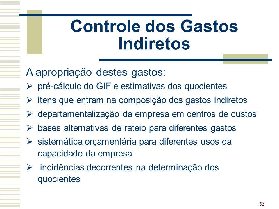 53 Controle dos Gastos Indiretos A apropriação destes gastos:  pré-cálculo do GIF e estimativas dos quocientes  itens que entram na composição dos g