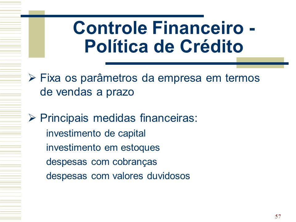 57 Controle Financeiro - Política de Crédito  Fixa os parâmetros da empresa em termos de vendas a prazo  Principais medidas financeiras: investiment