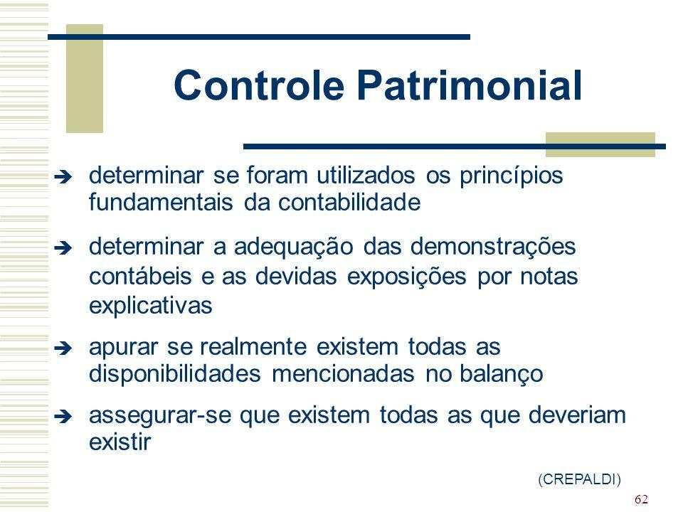 62 Controle Patrimonial  determinar se foram utilizados os princípios fundamentais da contabilidade  determinar a adequação das demonstrações contáb