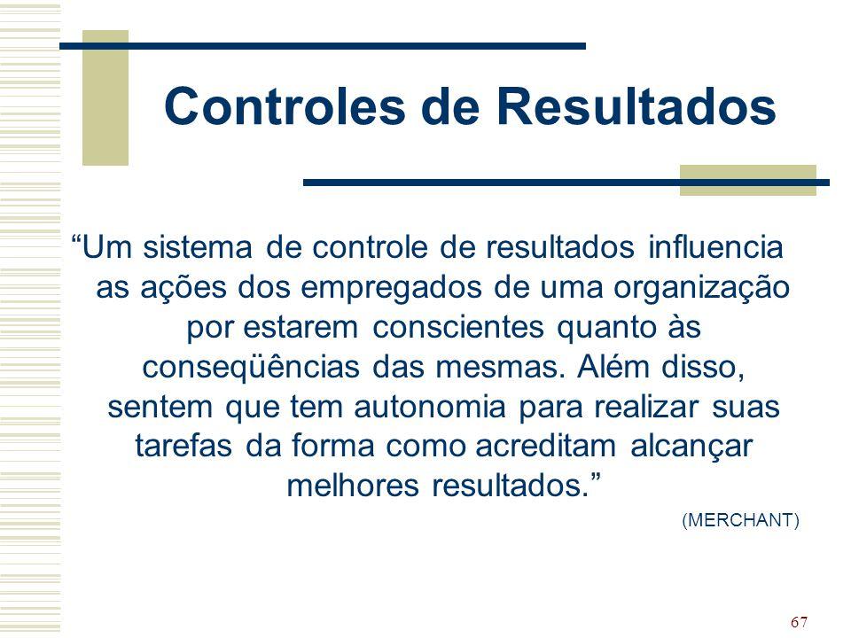 """67 Controles de Resultados """"Um sistema de controle de resultados influencia as ações dos empregados de uma organização por estarem conscientes quanto"""