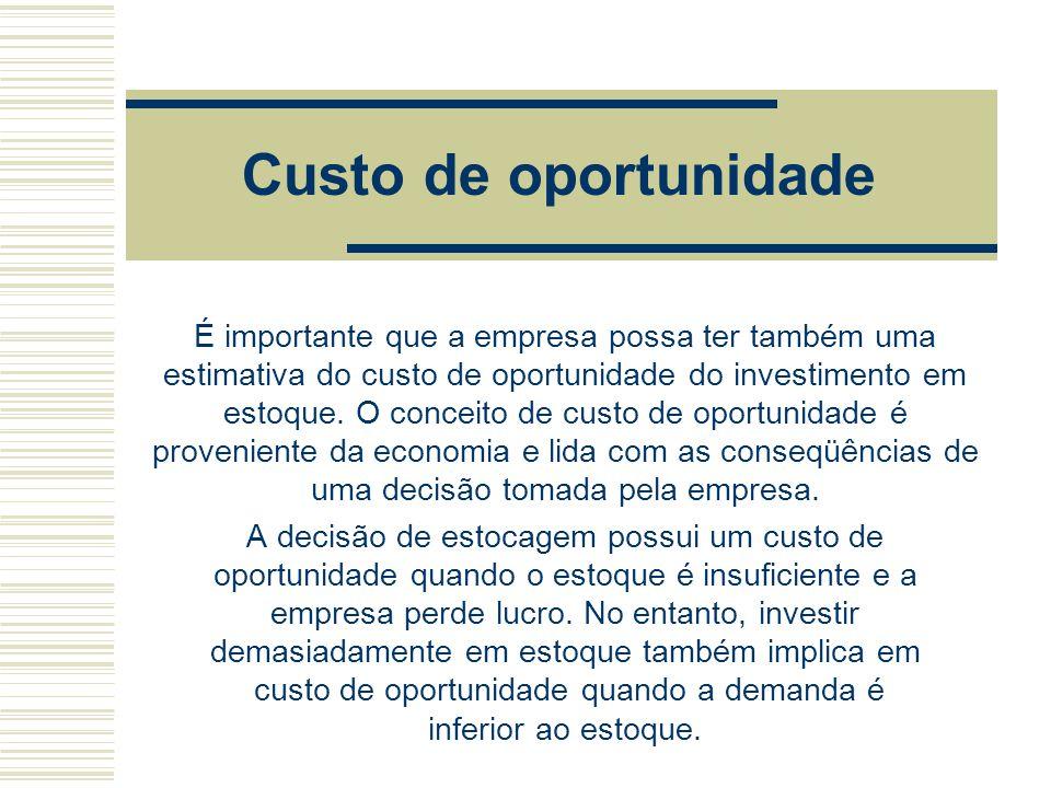 Custo de oportunidade É importante que a empresa possa ter também uma estimativa do custo de oportunidade do investimento em estoque. O conceito de cu
