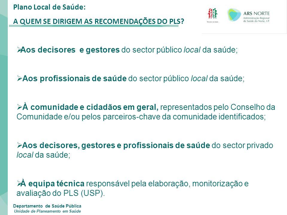 Plano Local de Saúde: A QUEM SE DIRIGEM AS RECOMENDAÇÕES DO PLS?  Aos decisores e gestores do sector público local da saúde;  Aos profissionais de s