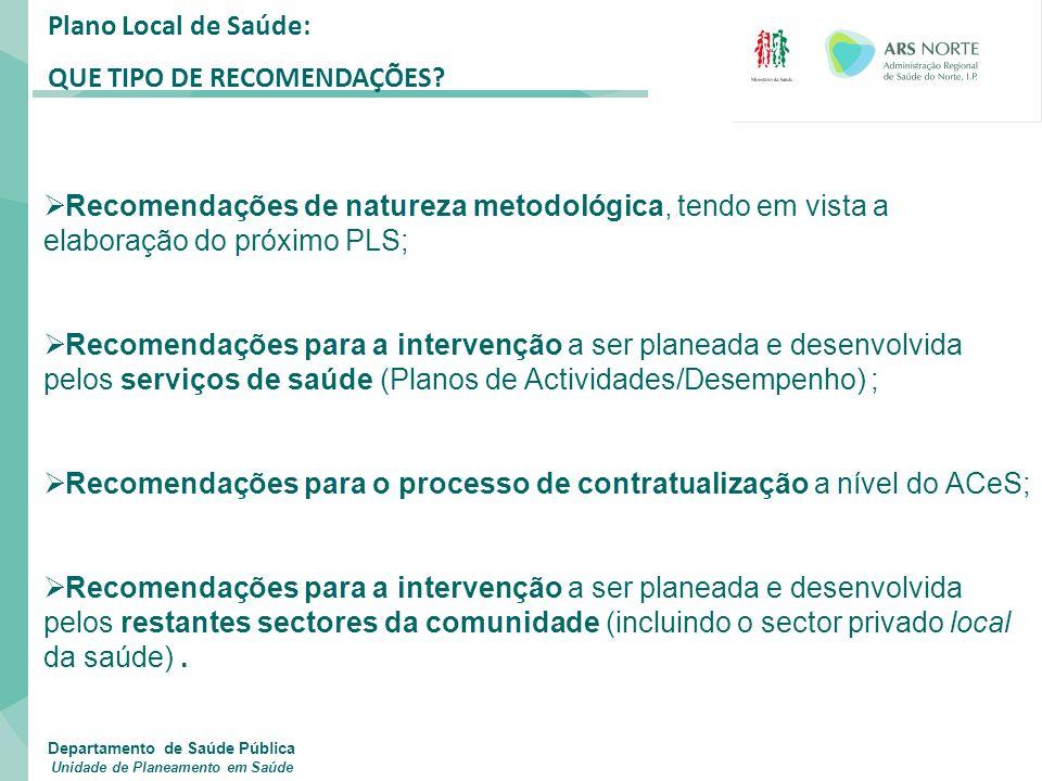 Plano Local de Saúde: QUE TIPO DE RECOMENDAÇÕES?  Recomendações de natureza metodológica, tendo em vista a elaboração do próximo PLS;  Recomendações