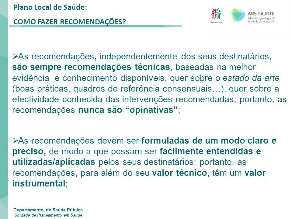 Plano Local de Saúde: COMO FAZER RECOMENDAÇÕES?  As recomendações, independentemente dos seus destinatários, são sempre recomendações técnicas, basea