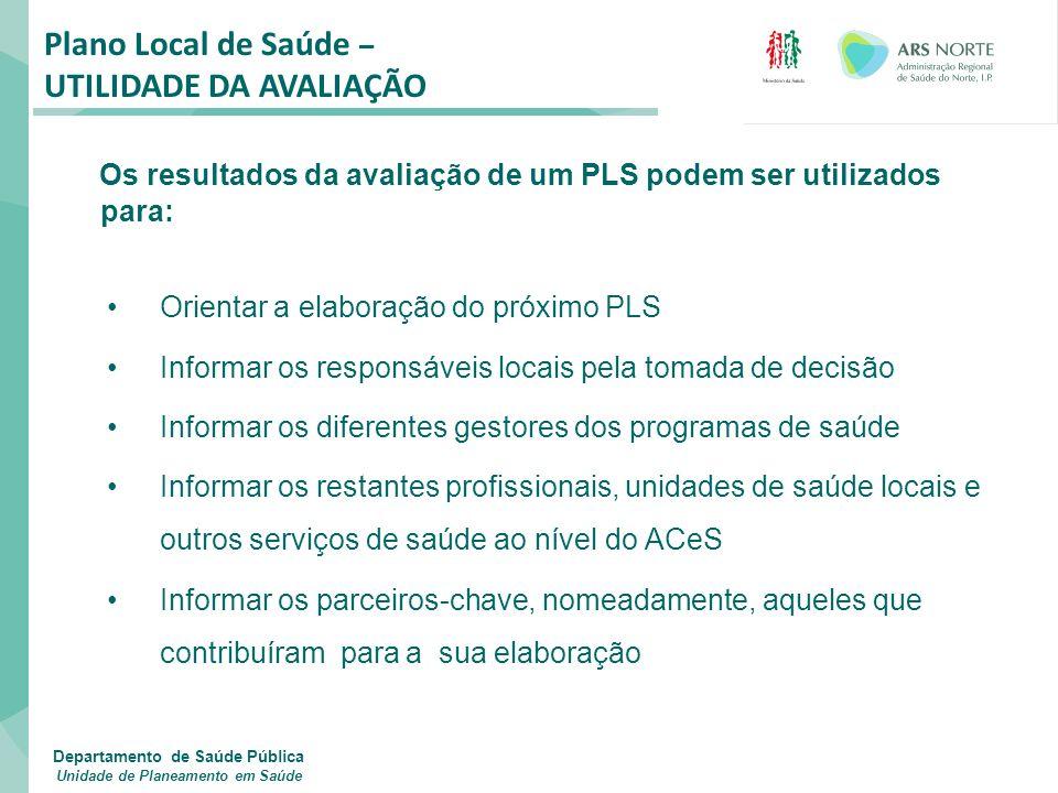 Os resultados da avaliação de um PLS podem ser utilizados para: Orientar a elaboração do próximo PLS Informar os responsáveis locais pela tomada de de