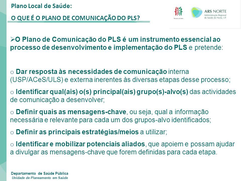 Plano Local de Saúde: O QUE É O PLANO DE COMUNICAÇÃO DO PLS?  O Plano de Comunicação do PLS é um instrumento essencial ao processo de desenvolvimento