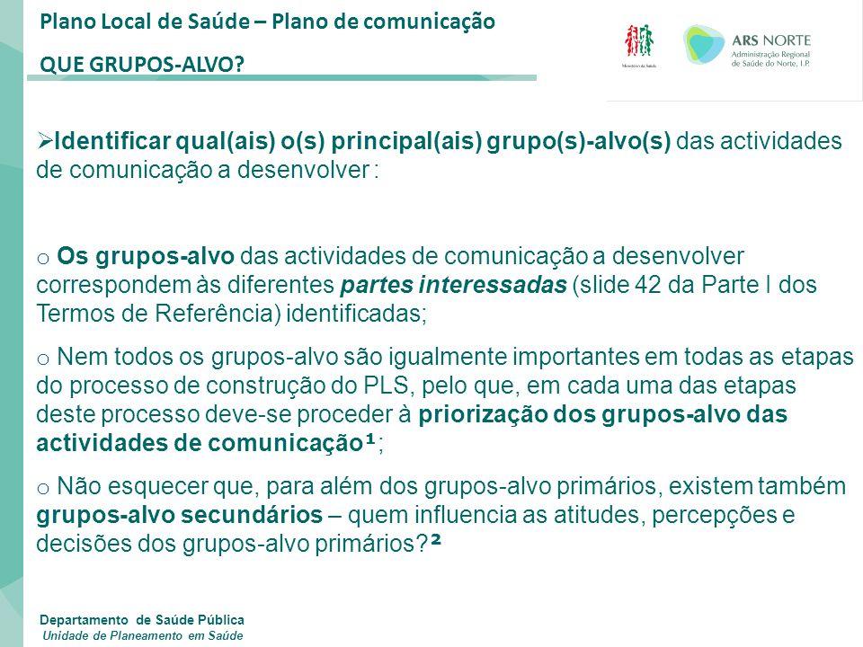 Plano Local de Saúde – Plano de comunicação QUE GRUPOS-ALVO?  Identificar qual(ais) o(s) principal(ais) grupo(s)-alvo(s) das actividades de comunicaç