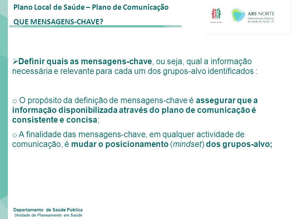 Plano Local de Saúde – Plano de Comunicação QUE MENSAGENS-CHAVE?  Definir quais as mensagens-chave, ou seja, qual a informação necessária e relevante