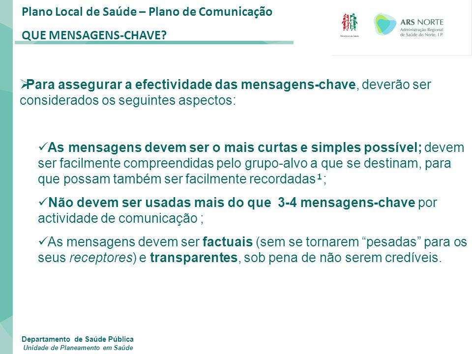 Plano Local de Saúde – Plano de Comunicação QUE MENSAGENS-CHAVE?  Para assegurar a efectividade das mensagens-chave, deverão ser considerados os segu