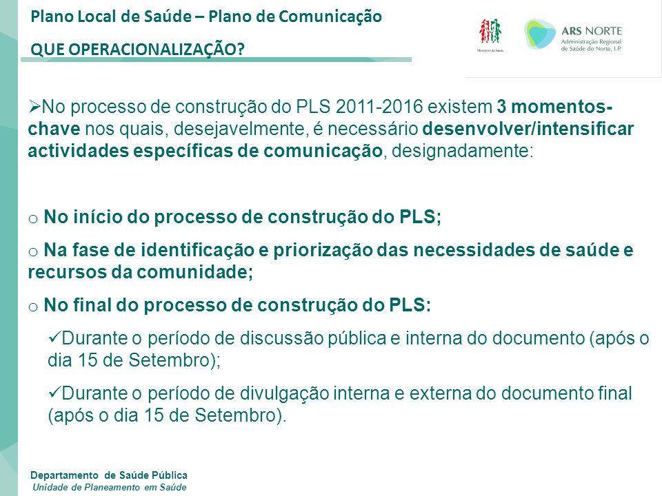 Plano Local de Saúde – Plano de Comunicação QUE OPERACIONALIZAÇÃO?  No processo de construção do PLS 2011-2016 existem 3 momentos- chave nos quais, d