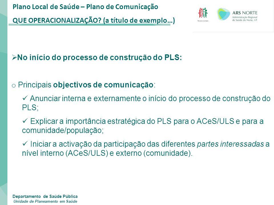 Plano Local de Saúde – Plano de Comunicação QUE OPERACIONALIZAÇÃO? (a título de exemplo…)  No início do processo de construção do PLS: o Principais o