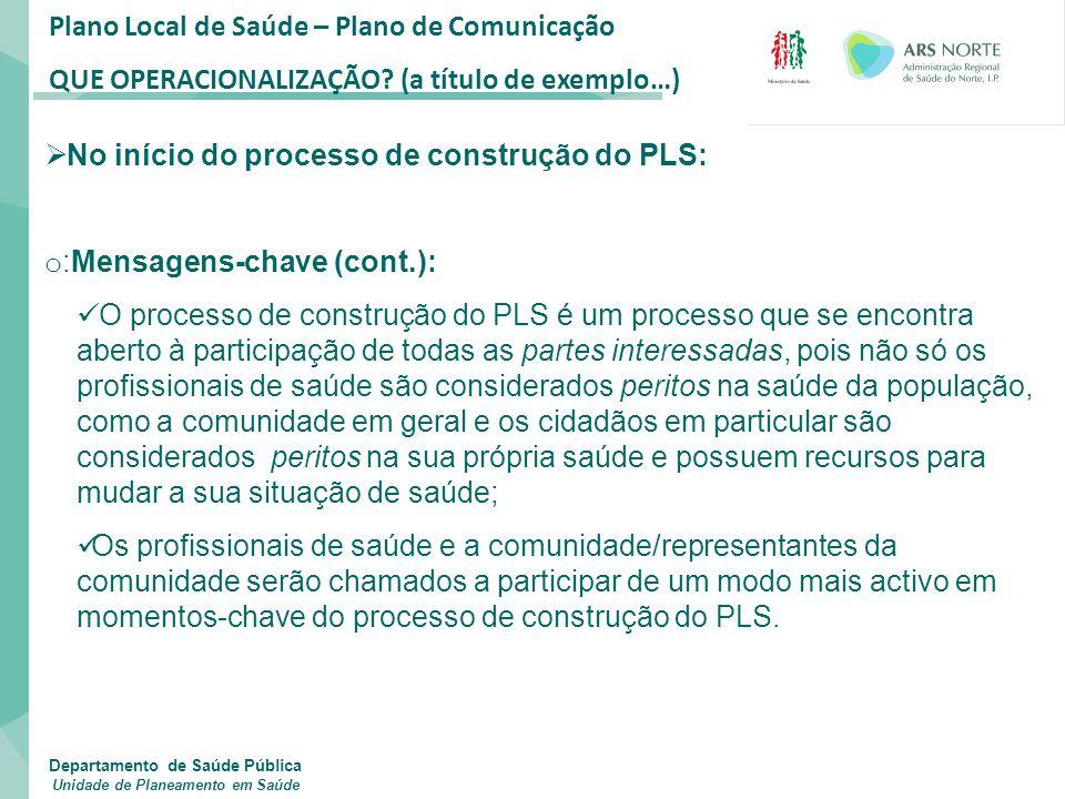 Plano Local de Saúde – Plano de Comunicação QUE OPERACIONALIZAÇÃO? (a título de exemplo…)  No início do processo de construção do PLS: o :Mensagens-c