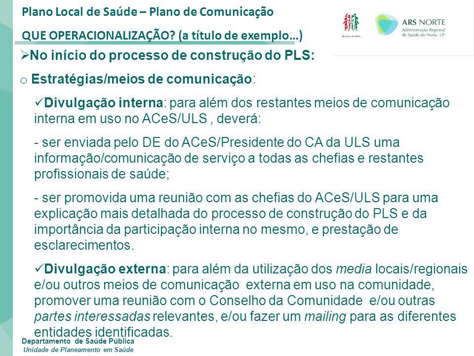 Plano Local de Saúde – Plano de Comunicação QUE OPERACIONALIZAÇÃO? (a título de exemplo…)  No início do processo de construção do PLS: o Estratégias/