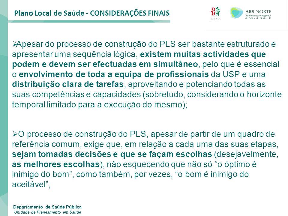Plano Local de Saúde - CONSIDERAÇÕES FINAIS  Apesar do processo de construção do PLS ser bastante estruturado e apresentar uma sequência lógica, exis