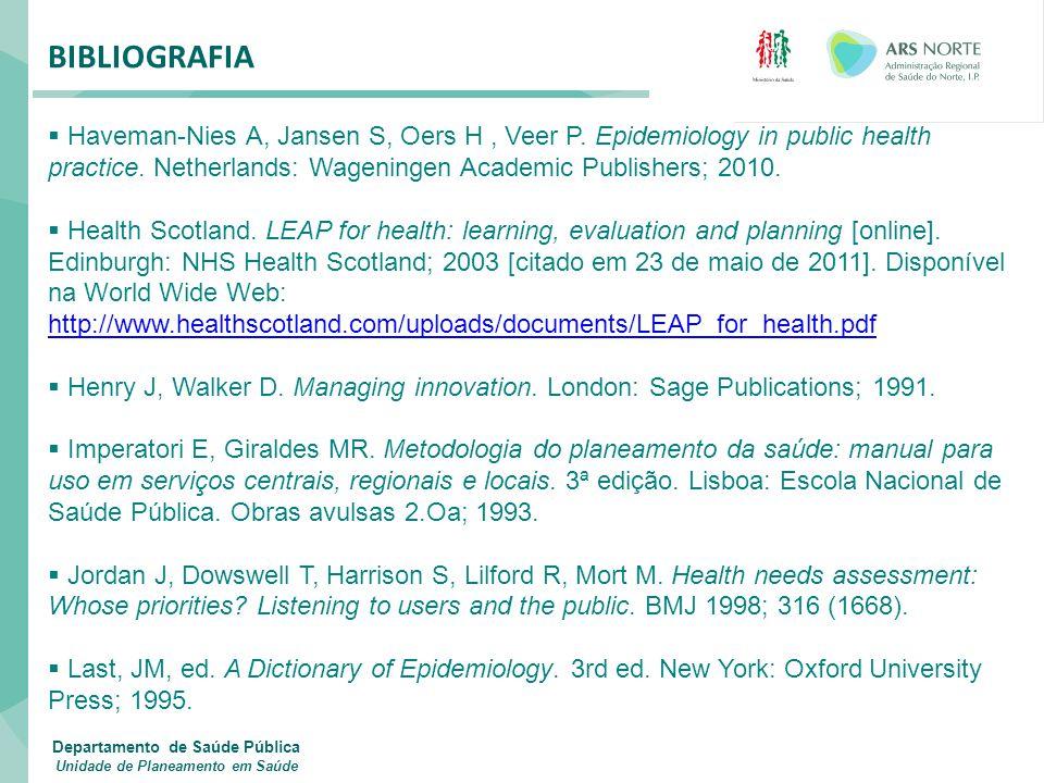 BIBLIOGRAFIA  Haveman-Nies A, Jansen S, Oers H, Veer P. Epidemiology in public health practice. Netherlands: Wageningen Academic Publishers; 2010. 
