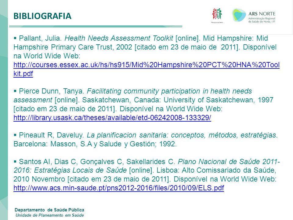 BIBLIOGRAFIA  Pallant, Julia. Health Needs Assessment Toolkit [online]. Mid Hampshire: Mid Hampshire Primary Care Trust, 2002 [citado em 23 de maio d