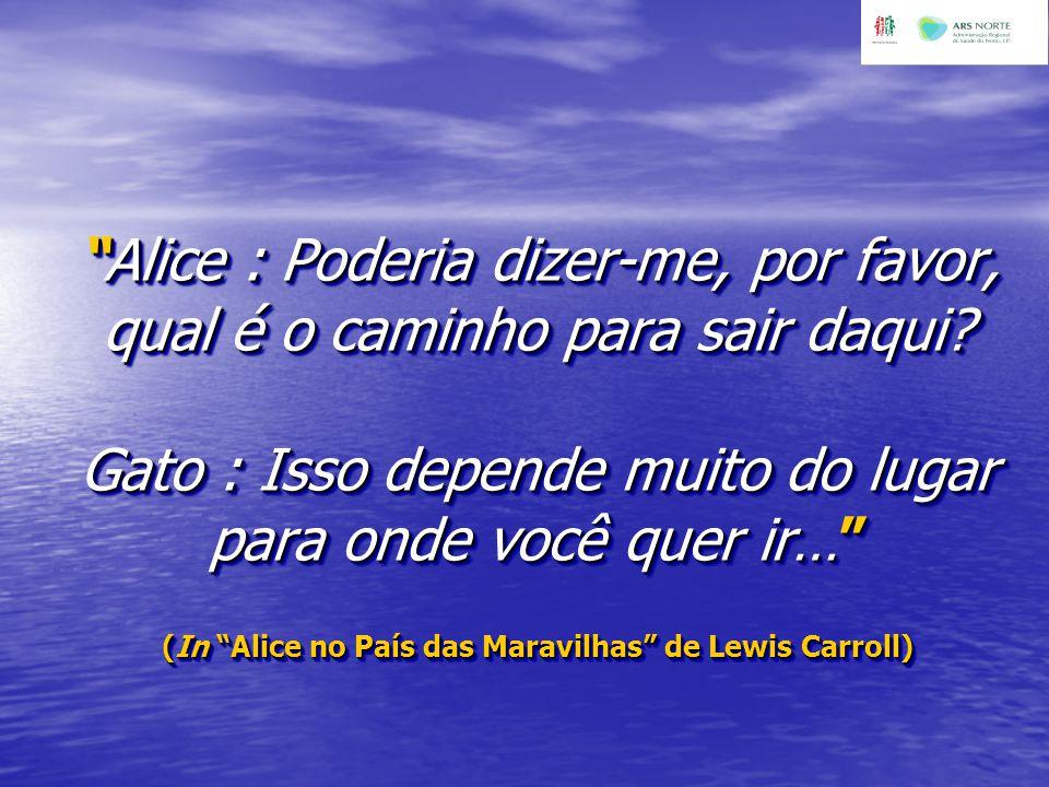 """""""Alice : Poderia dizer-me, por favor, qual é o caminho para sair daqui? Gato : Isso depende muito do lugar para onde você quer ir…"""" (In """"Alice no País"""