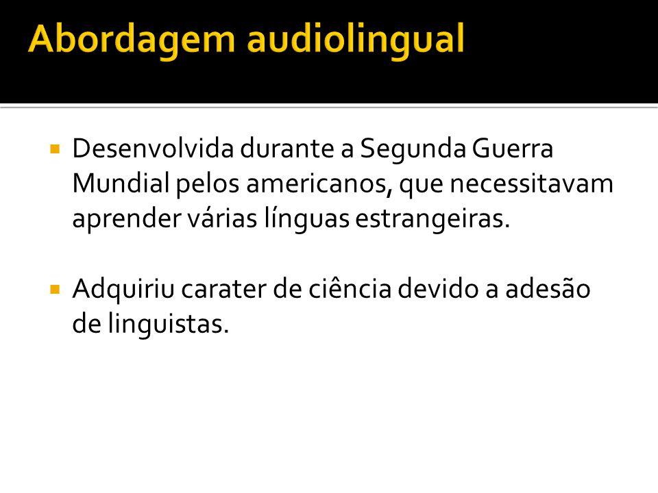  Desenvolvida durante a Segunda Guerra Mundial pelos americanos, que necessitavam aprender várias línguas estrangeiras.  Adquiriu carater de ciência