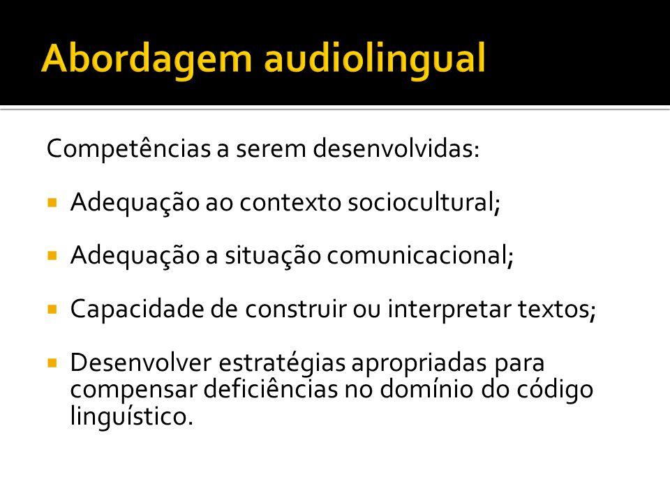 Competências a serem desenvolvidas:  Adequação ao contexto sociocultural;  Adequação a situação comunicacional;  Capacidade de construir ou interpr