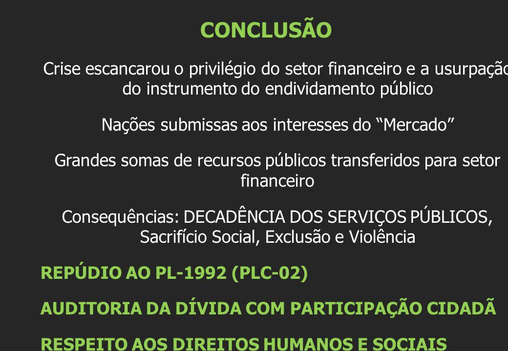 CONCLUSÃO Crise escancarou o privilégio do setor financeiro e a usurpação do instrumento do endividamento público Nações submissas aos interesses do Mercado Grandes somas de recursos públicos transferidos para setor financeiro Consequências: DECADÊNCIA DOS SERVIÇOS PÚBLICOS, Sacrifício Social, Exclusão e Violência REPÚDIO AO PL-1992 (PLC-02) AUDITORIA DA DÍVIDA COM PARTICIPAÇÃO CIDADÃ RESPEITO AOS DIREITOS HUMANOS E SOCIAIS